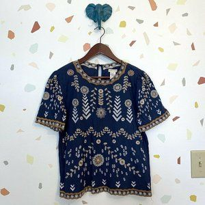 Main Strip Navy Blue Floral Embroidered Top
